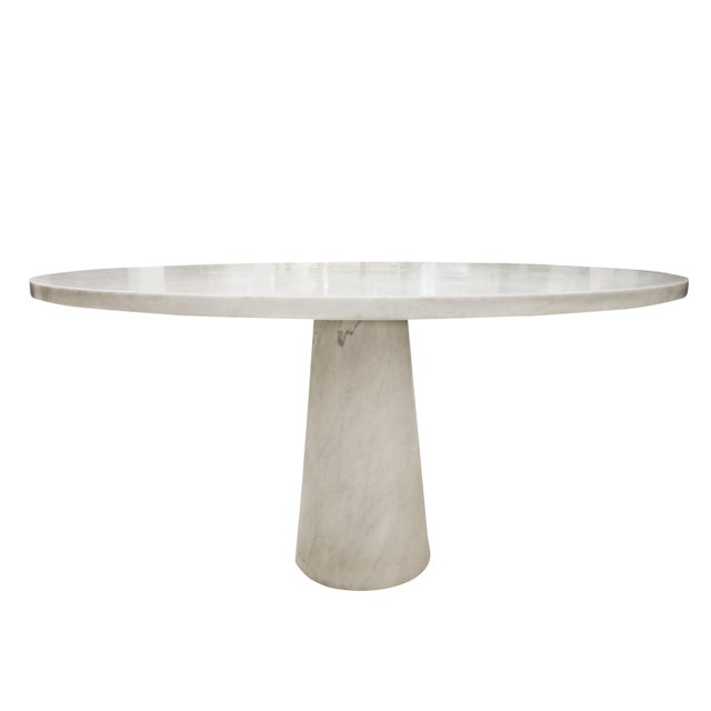 Angelo Mangiarotti Marble Round Dining Table, 1970s For Sale