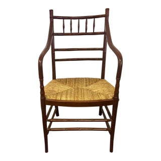 1950s Boho Chic Faux Bamboo Armchair For Sale