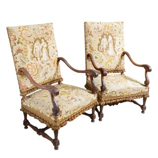 C.1860 French Needlepoint Armchairs - a Pair For Sale