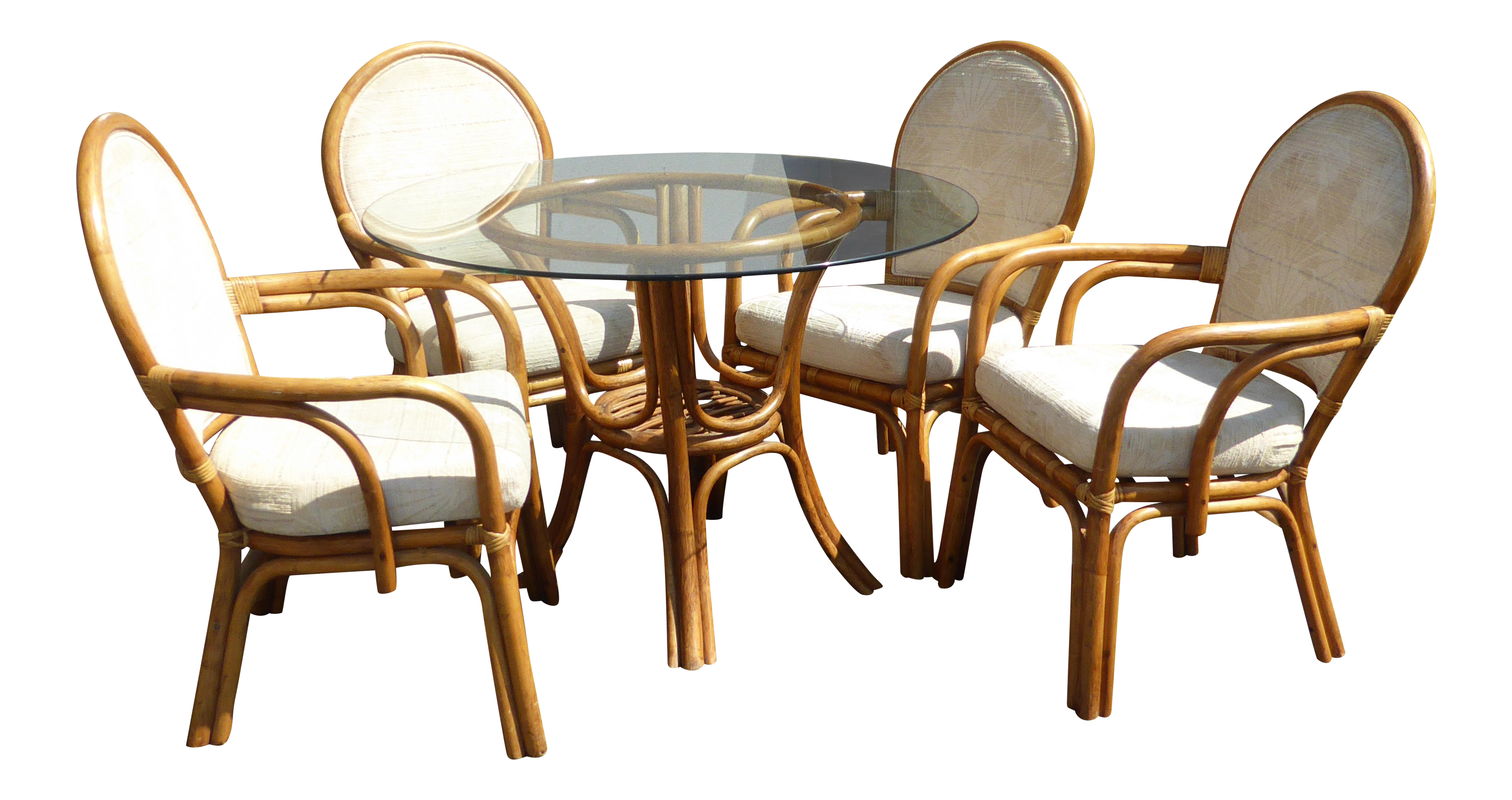 Vintage Mid Century Tiki Palm Beach Bentwood Dining Set Table U0026 White Chairs  For Sale