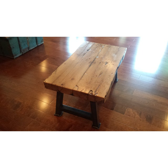 Industrial Reclaimed White Oak Coffee Table - Image 7 of 7