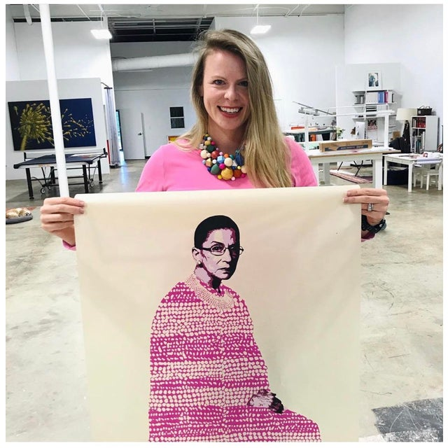 """RBG"" limited edition screen print 475.00 each RBG, 2020 Screen print, hand painted detail 20 x 16 inches (unframed)..."