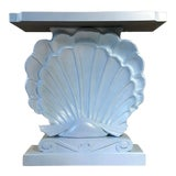 Image of 1950s Edward Wormley Dunbar Style Carved Wood Shell Console Table White Blue Pearl For Sale