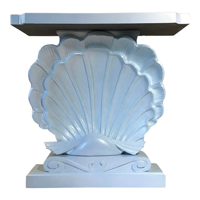 Palm Beach Regency 1950s Edward Wormley Dunbar Style Carved Wood Shell Console Table White Blue Pearl For Sale