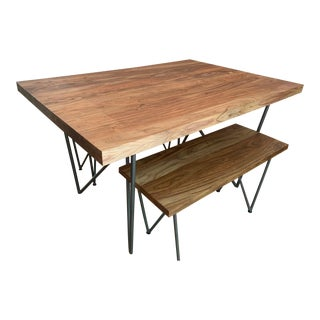 Rustic Cb2 Dylan Dining Table and Bench Set - 2 Pieces For Sale
