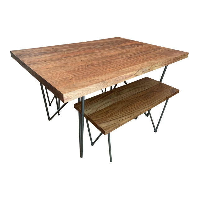 Marvelous Rustic Cb2 Dylan Dining Table And Bench Set 2 Pieces Caraccident5 Cool Chair Designs And Ideas Caraccident5Info
