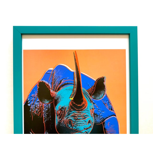"This Andy Warhol Estate rare vintage 1989 Endangered Species custom framed collector's offset lithograph print "" Black..."