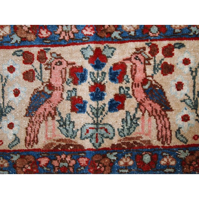 Antique Persian Tabriz rug in original condition. This beautiful masterpiece is made in night blue shades with beige...