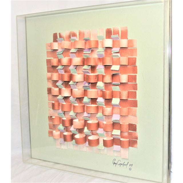 Abstract Expressionism Mid-Century Modern Mixed Media Art in Lucite Box Frame Signed Greg Copeland For Sale - Image 3 of 13