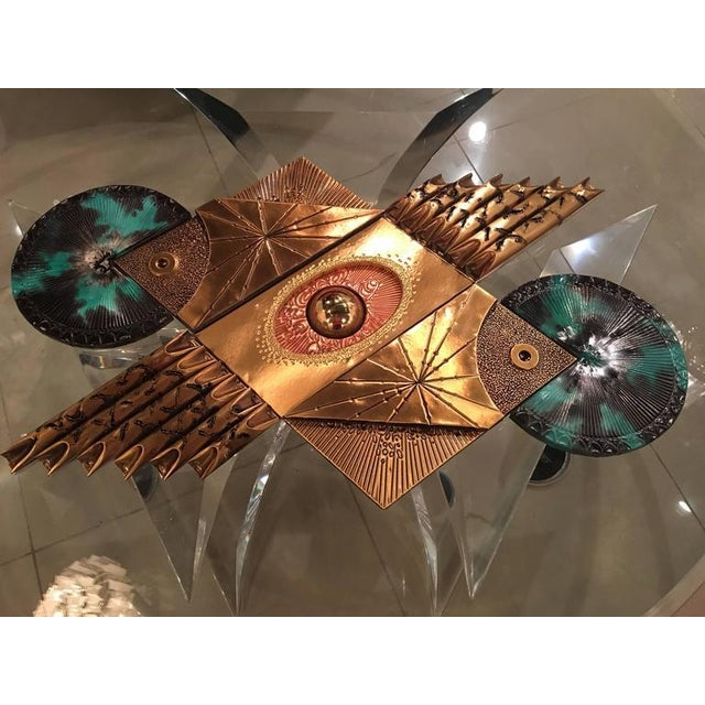Vintage Mid-Century Modern, Brutalist mixed metals, torch cut, wall hanging art in the manner of Curtis Jere.