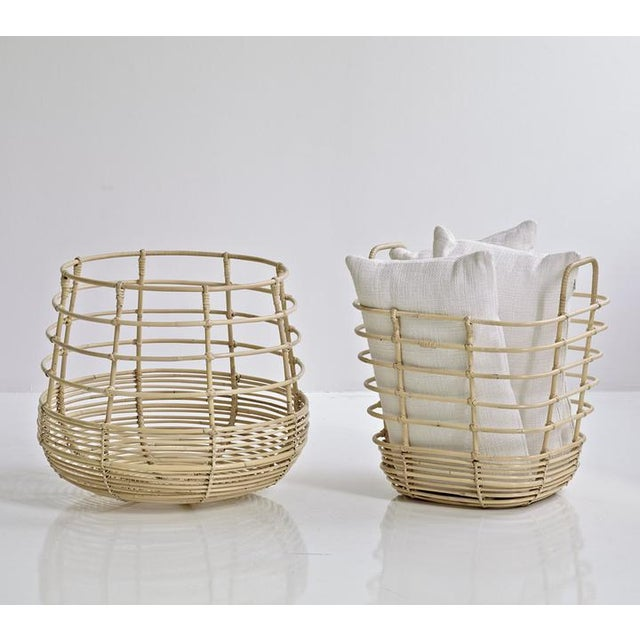 Wood Cane-Line Sweep Basket, Round For Sale - Image 7 of 8