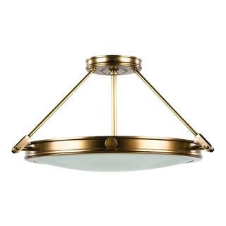 Modern Hinkley Lighting Brass and Opal Glass Ceiling Light For Sale
