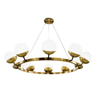 Mid-Century Modern Brass 10 Opal Globe Chandelier For Sale