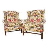 Image of Newly Upholstered Georgian Style Wingback Chairs - a Pair For Sale