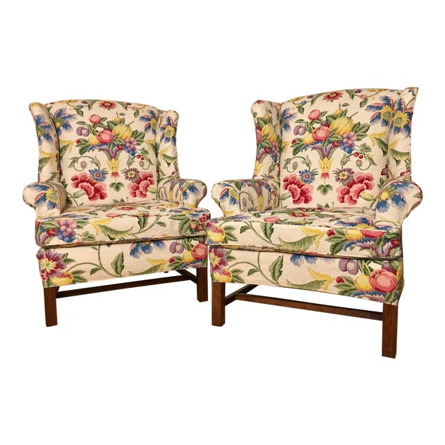 Newly Upholstered Georgian Style Wingback Chairs - a Pair For Sale