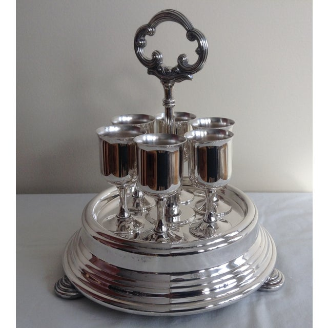 Vintage 1960's-early 70's; Taunton Silversmith Co., a division of Lenox, this set of 6 silver plated cordials with a round...