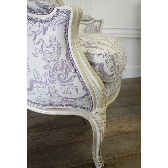 Vintage 20th Century Painted French Louis XV Style Bergere Chairs- A Pair For Sale - Image 9 of 13