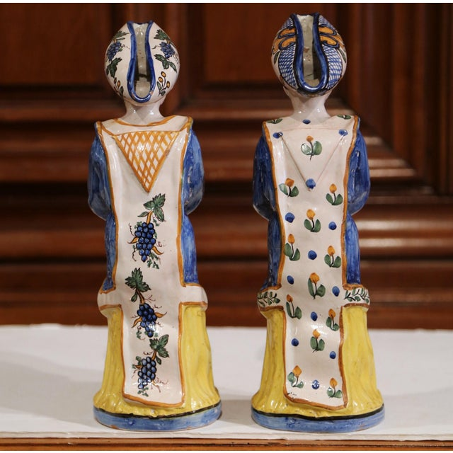 Ceramic 19th Century French Hand-Painted Ceramic Bar Figurines or Pitchers - a Pair For Sale - Image 7 of 9