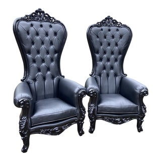 Black Baroque Style Tufted Throne Chairs - a Pair For Sale