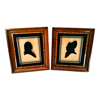 Vintage Art Deco 1920s George & Martha Washington Reverse Painted Silhouettes - a Pair For Sale