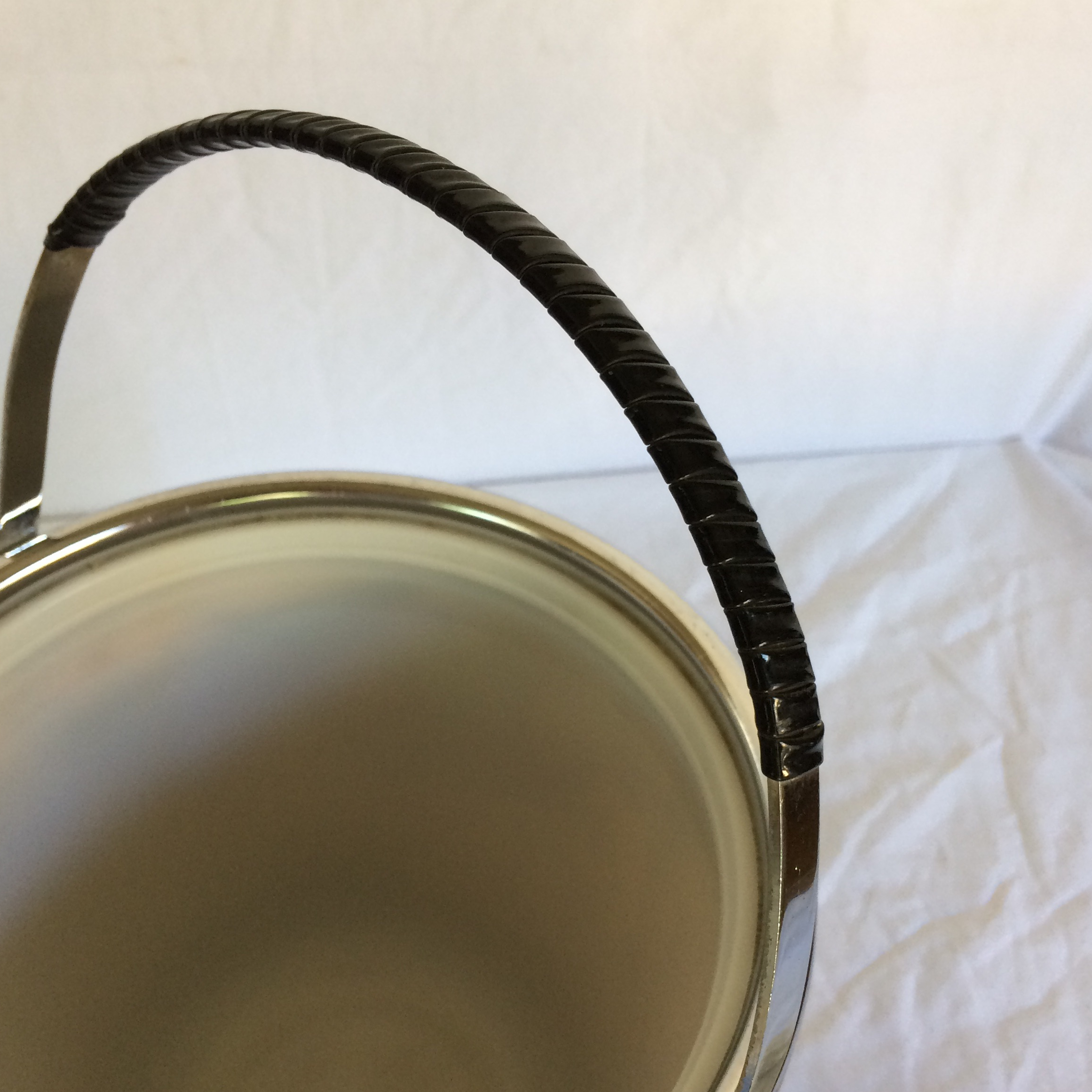 Mid Century Modern Black Leather U0026 Chrome Ice Bucket With Tongs   Image 9 Of