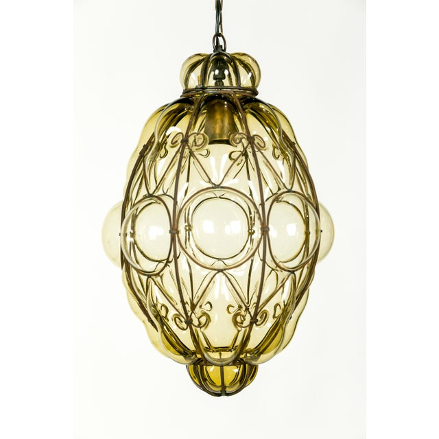 Italian Iron Wire & Blown Glass Pendant For Sale - Image 13 of 13