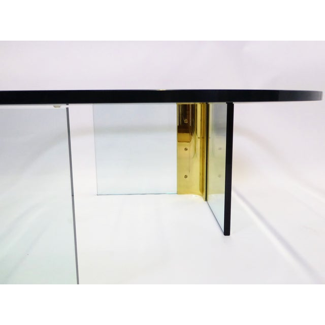 Modern Large 1970s Thick Glass & Brass Coffee Table For Sale In Miami - Image 6 of 13