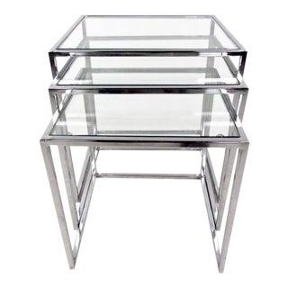 Vintage Modern Style Nesting Tables After Milo Baughman For Sale