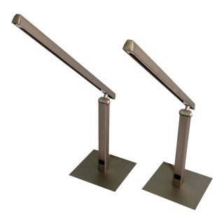 Vintage George Kovacs Matte Brushed Nickel Table Lamps - a Pair For Sale