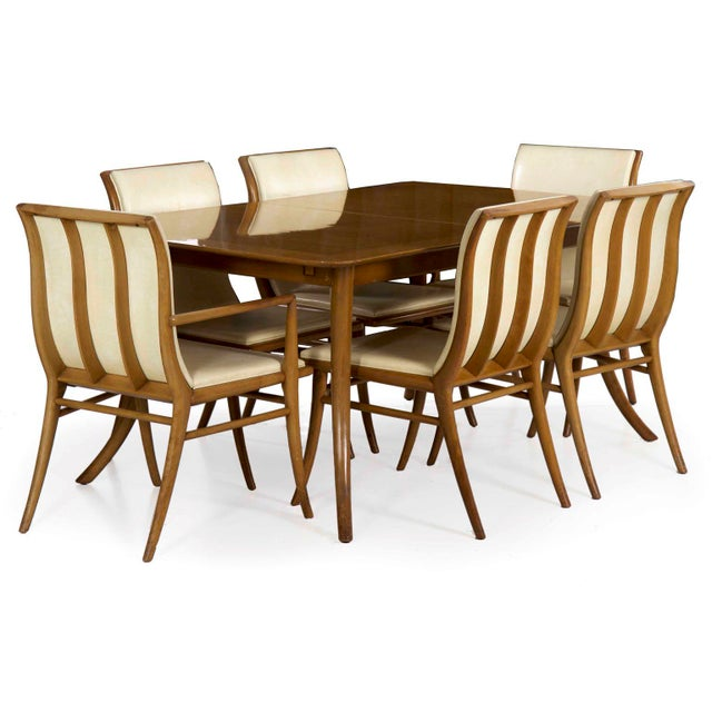 t.h. Robsjohn-Gibbings for Widdicomb Walnut Dining Table W/ Six Chairs Circa 1957 For Sale - Image 13 of 13