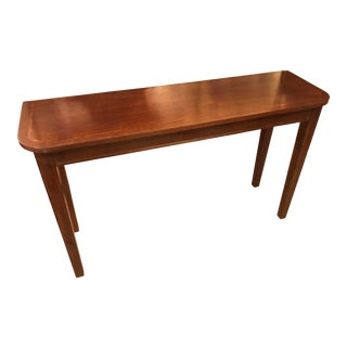 Vintage Wood Console Table With Wood Inlay For Sale