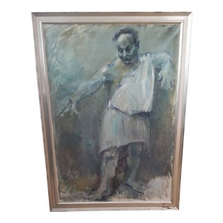 Vintage Mid-Century Abstract Man in Toga Framed Painting For Sale