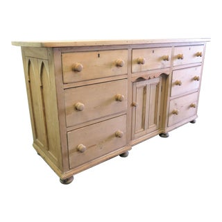 Late 19th Century English Gothic Scrub Pine Sideboard For Sale