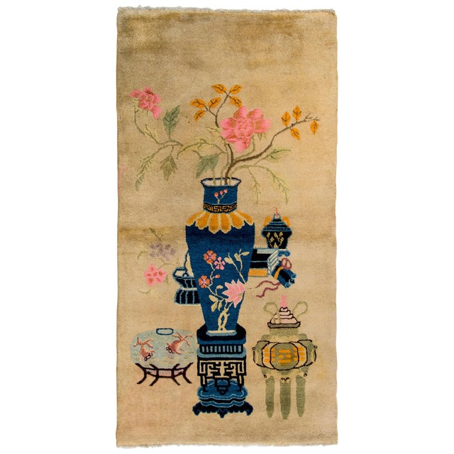 Blue Early 20th Century Chinese Art Deco Rug For Sale - Image 8 of 8