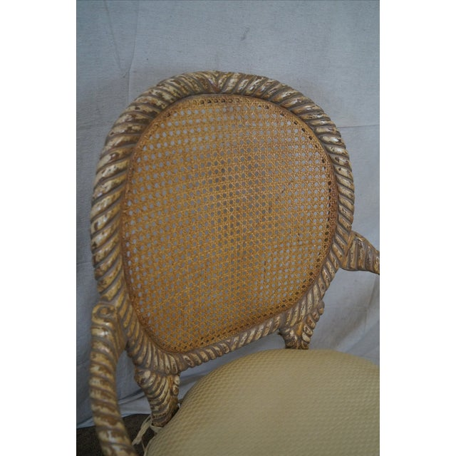 Hollywood Regency Gilt Painted Rope Turned Chair - Image 5 of 10