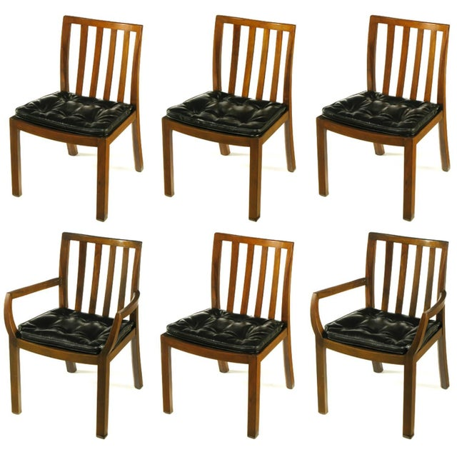 Six Bert England Forward Trend Walnut and Leather Dining Chairs For Sale - Image 10 of 11