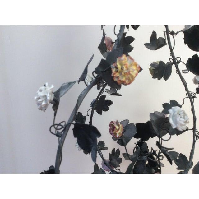 Tole & Porcelain Flower Candle Chandelier - Image 3 of 10