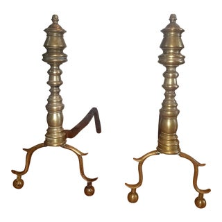 18th Century Antique American Brass Andirons - a Pair