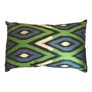 Green and Blue Silk İkat Pillow Cover For Sale