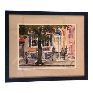 New York City Brownstone Watercolor Painting For Sale