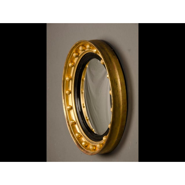 English Traditional Antique English Regency Perios Gold Leaf Convex Mirror circa 1825 For Sale - Image 3 of 7