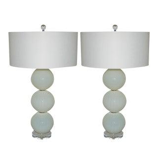 Joe Cariati Glass Ball Table Lamps White For Sale