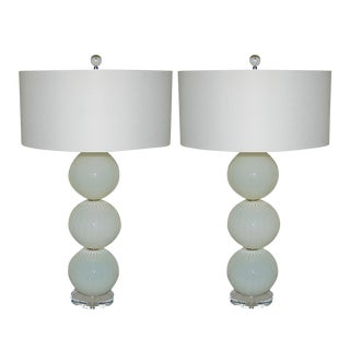 Joe Cariati Hand Blown Glass Ball Table Lamps White For Sale