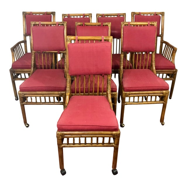 Bamboo Dining Chairs Set of 8 For Sale