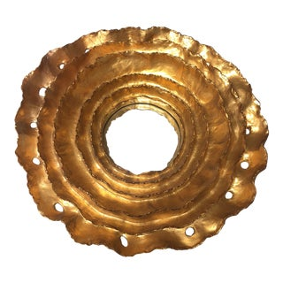 Mediterranean Round Gold Leaf Wall Mirror For Sale