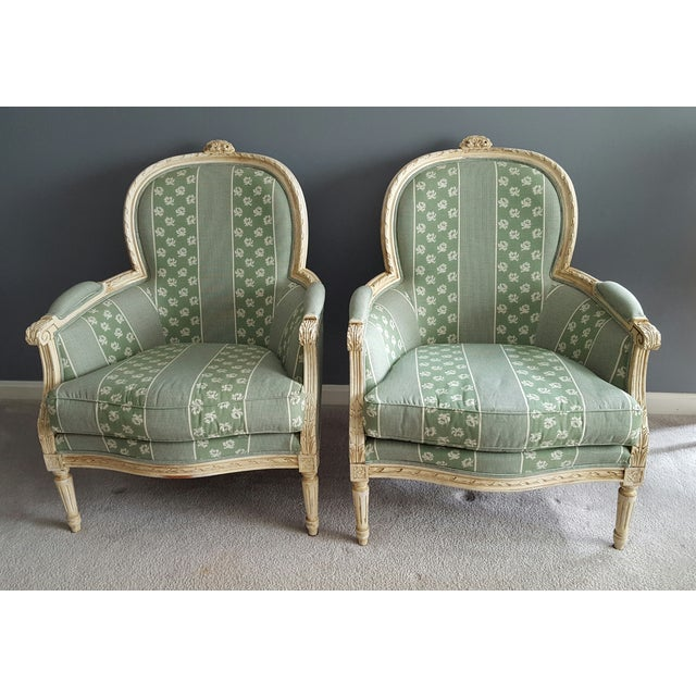 Louis XV Style Bergere Chairs - Pair - Image 2 of 5