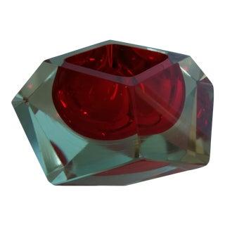 Flavio Poli Red Faceted Sommerso Mandruzzato Murano Glass Bowl For Sale