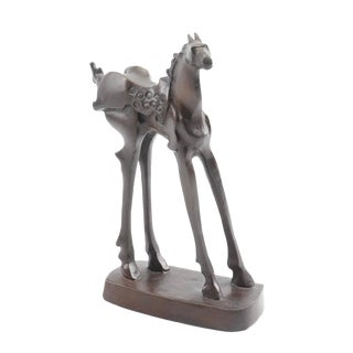 Vintage Mid-Century Bronze Abstracted Surrealist Inspired Horse Sculpture For Sale