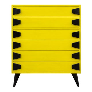 Mid 20th Century Mid-Century Chartreuse 6 Drawer Highboy Dresser With Black Atomic Handles and Legs For Sale