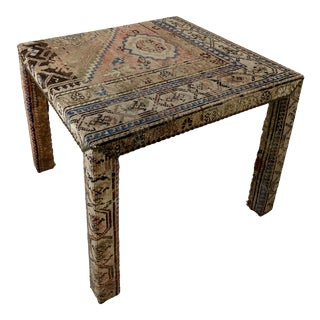 Persian Rug Upholstered Parsons Table For Sale